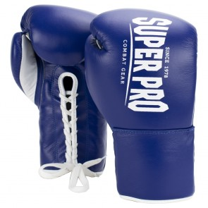 Super Pro Combat Gear Winner Competition Gloves with laces Blue/White