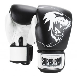 Super Pro Combat Gear Undisputed Leather Bag Gloves Black/White