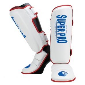 Super Pro Combat gear Shin Guards Protector Red/White/Blue